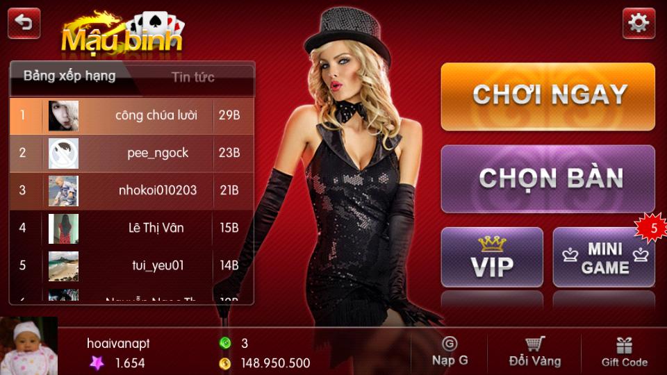 Game đánh bài mậu binh online