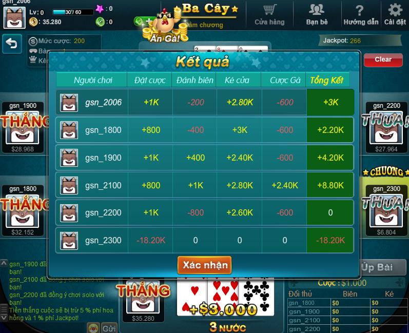 Hình ảnh game chơi bài ba cây