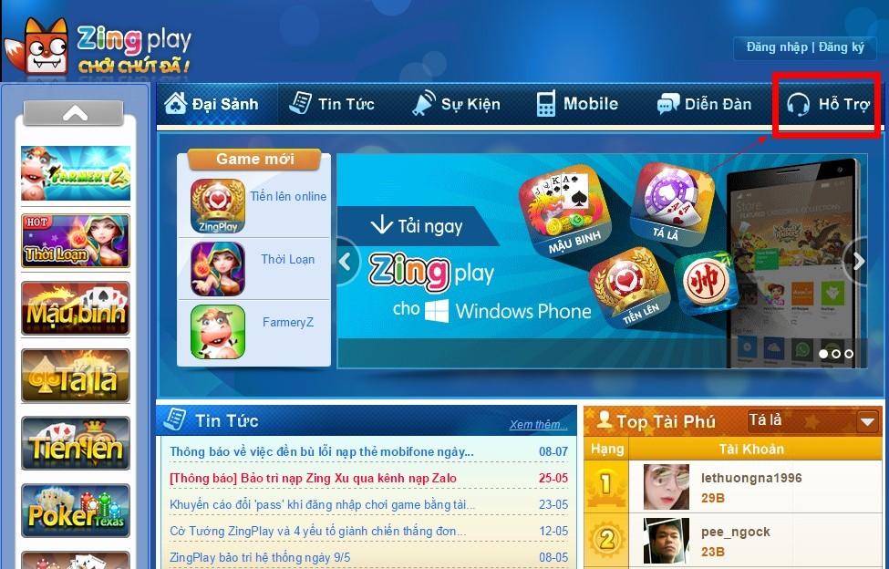 Hỗ trợ khách hàng cổng game chơi đánh bài online phiên bản web
