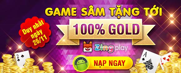 Tặng 100% Gold game chơi đánh bài sâm lốc online
