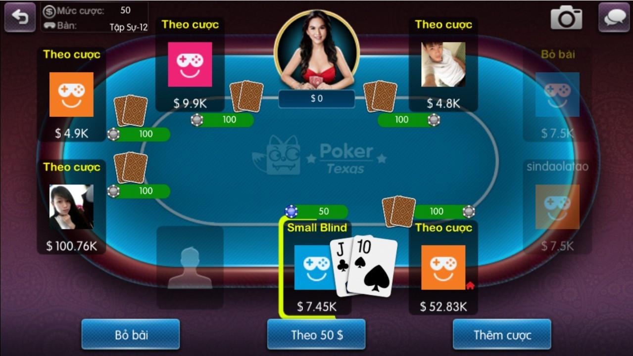 Giao diện bàn chơi poker mobile