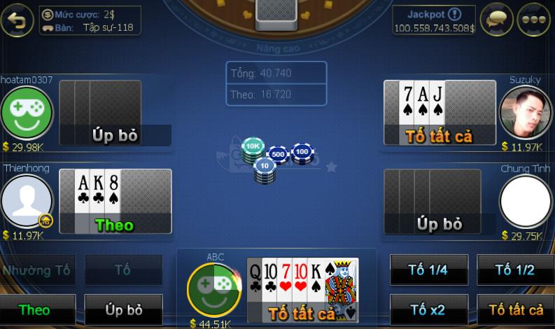 Giao diện game bài xì tố online ZingPlay
