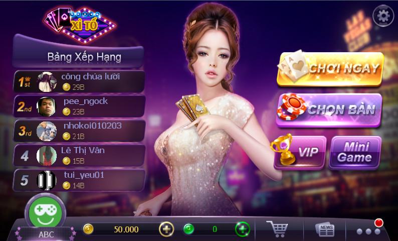 Giao diện phòng chờ game bài xì tố online ZingPlay